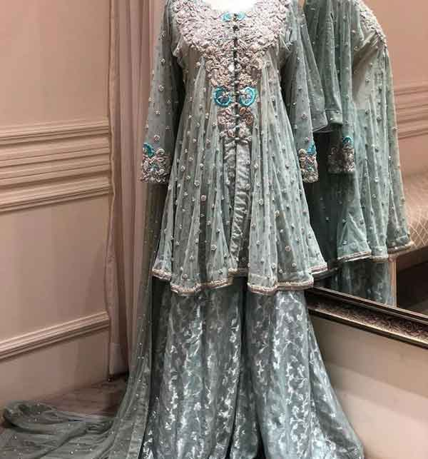 SALE SALE Chiffon Bridal Embroidered Dress Chiffon Heavy Gharara (unsitched) (CHI-416)