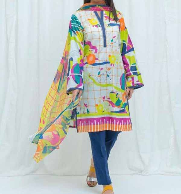 Latest Digital Printed Lawn Dress 2021 Wth Lawn Dupatta (DRL-779)