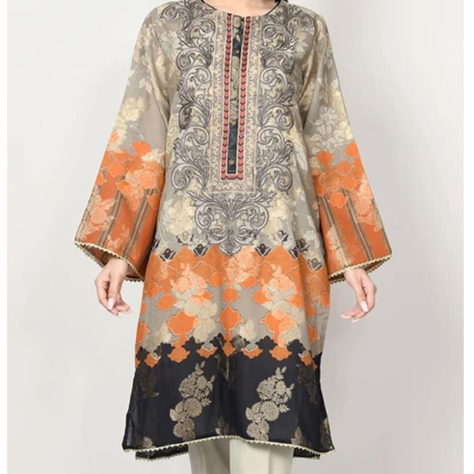 HIT Embroidered Lawn Dress with Chiffon Dupatta (DRL-449) (Unstitched)