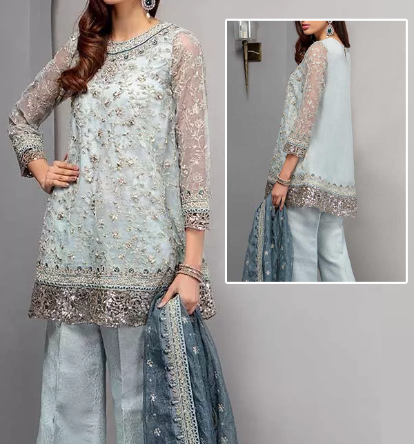Heavy Net Bridal Suit With Chiffon Dupatta (CHI-357) (Unstitched)