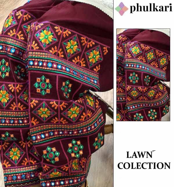Lawn Heavy Embroidery Dress With Brown Patiala Phulkari Salwar 2 Pec (Unsitched) (DRL-710)