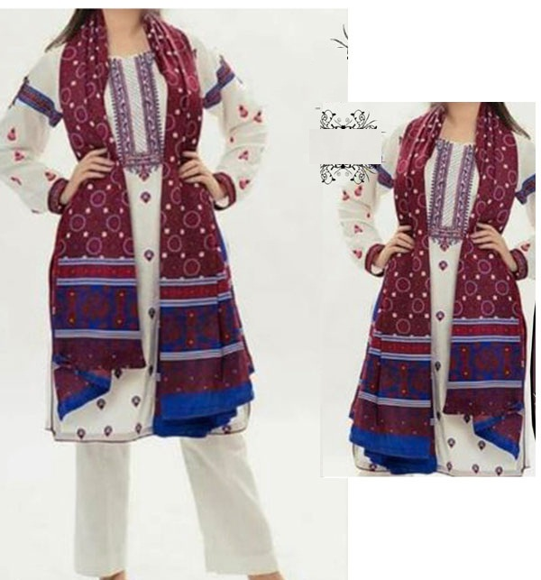 Linen Heavy Embroidery Suit With AJRAK SHAWL PRINT (Unstitched) (LN-153)
