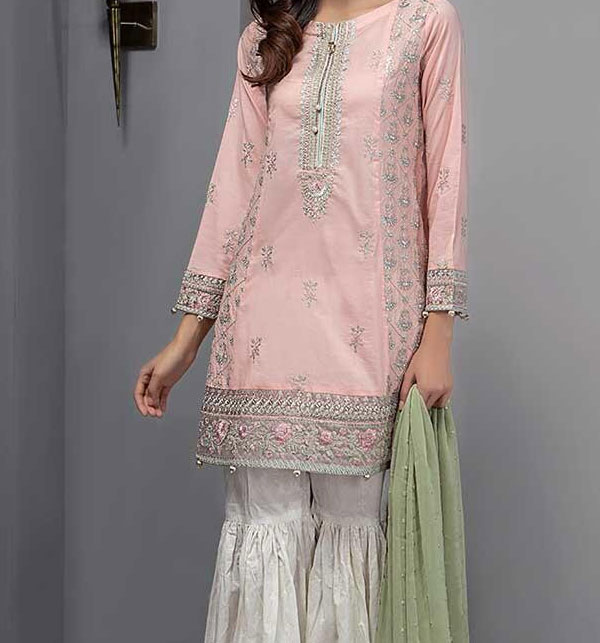 Linen Light Pink Suit With Wool Shawl Printed Trouser (Unstitched) (LN-108)