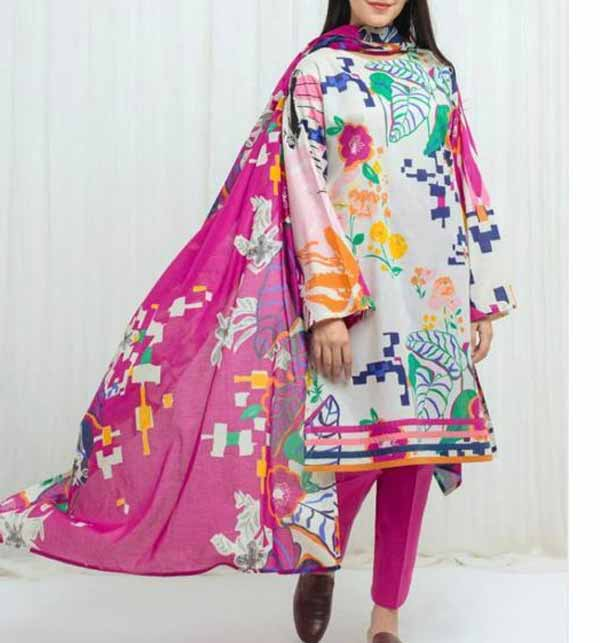 New Digital Printed Lawn Dress 2021 With Lawn Dupatta (DRL-778)