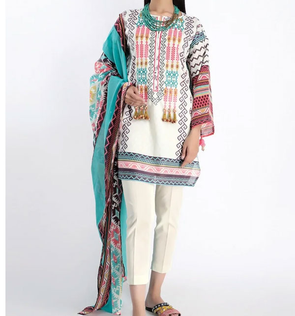 New Lawn Emboidery Suit With Chiffon Printed Duppata (DRL-483) (Unstitched)