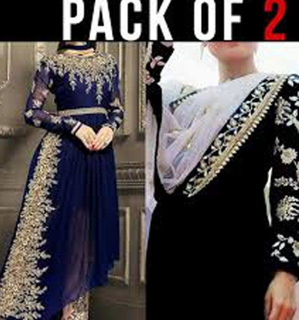 Pack of 2 - Pakistani Chiffon Suit Embroidered in Royal Blue & Embroidered Chiffon Black Suit Unstitched (CHI-33) & (CHI-35)