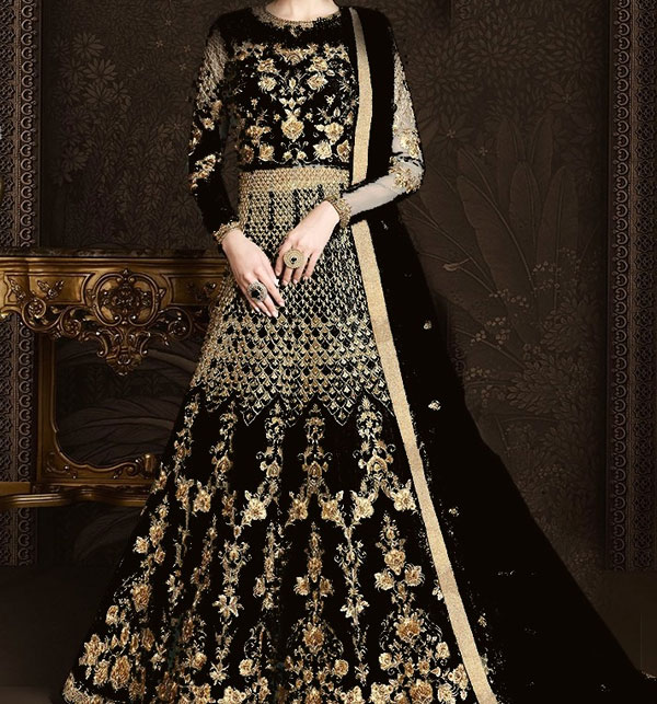Fancy Heavy Embroidery NET Sami Stitched Dress Sequence Embroidery Work Western Suit (Unstitched) (CHI-367)