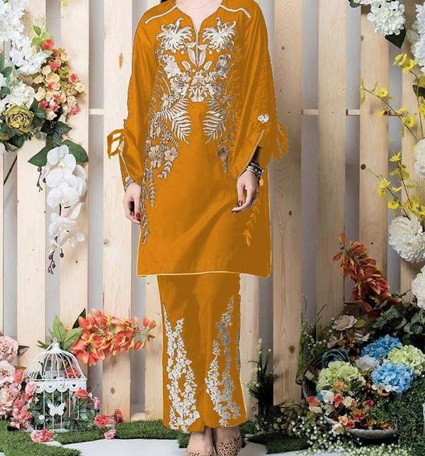 LINEN FULL Embroidered Stitched Suits YELLOW COLOR (LN-194)