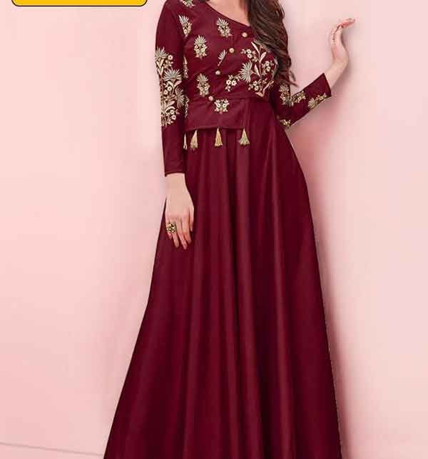 Stitched Stylish Maroon Silk Maxi (LN-207)