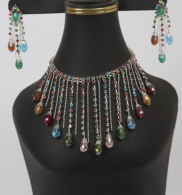 (MEGA SALE) Stylish Silver MultiColor Necklace Set With Eairrings (PS-230)
