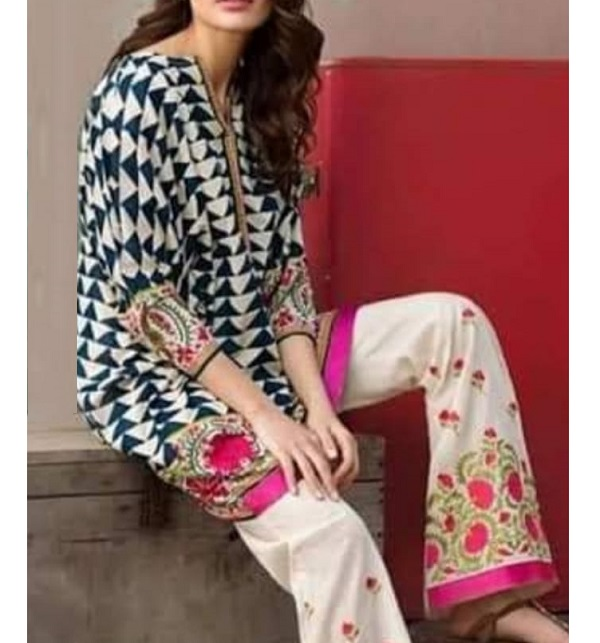 Lawn Full Embroidered Dress Full Embroidery Trouser (DRL-611)