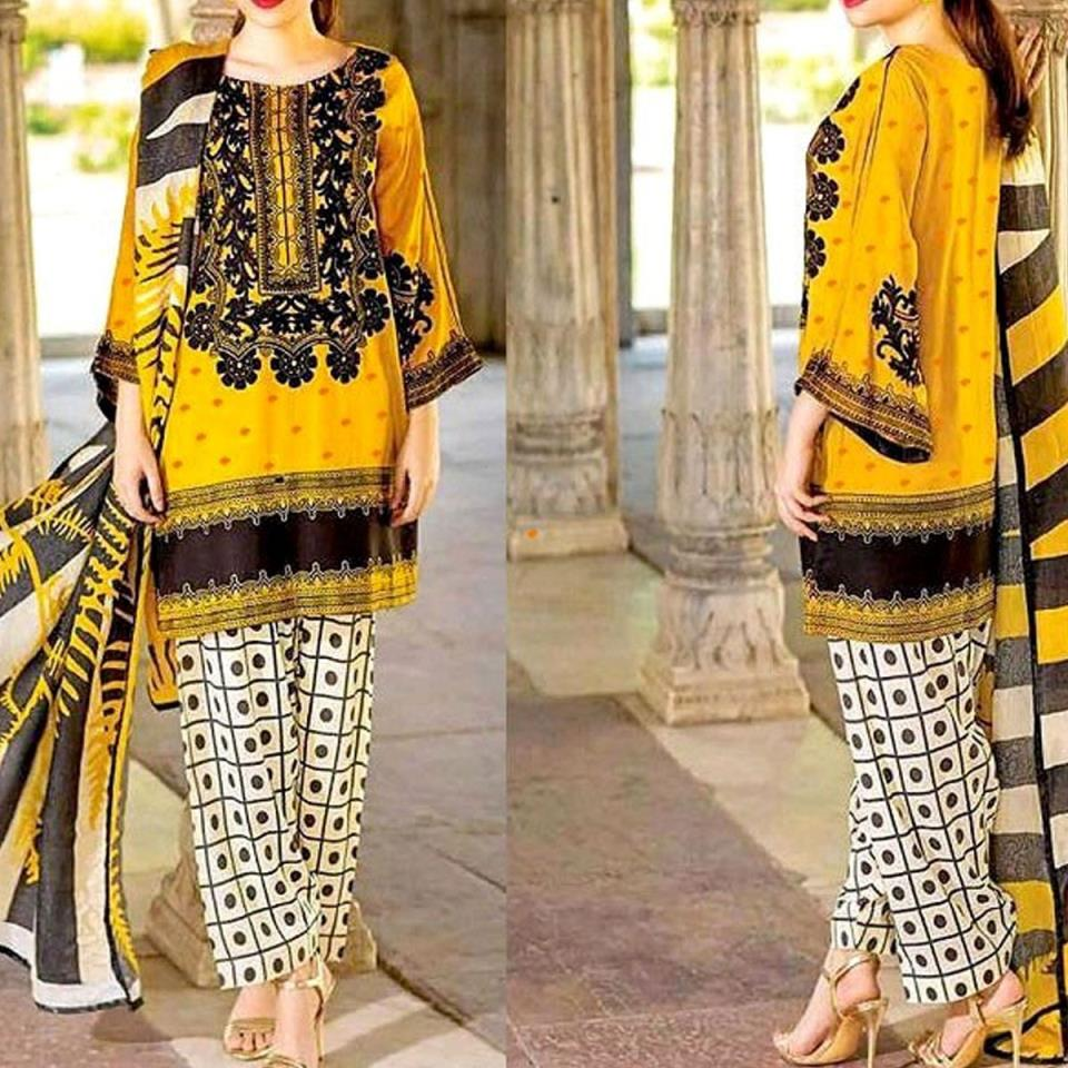 Embroidered Lawn Dress 90/70 with Chiffon Dupatta UnStitched (DRL-422)