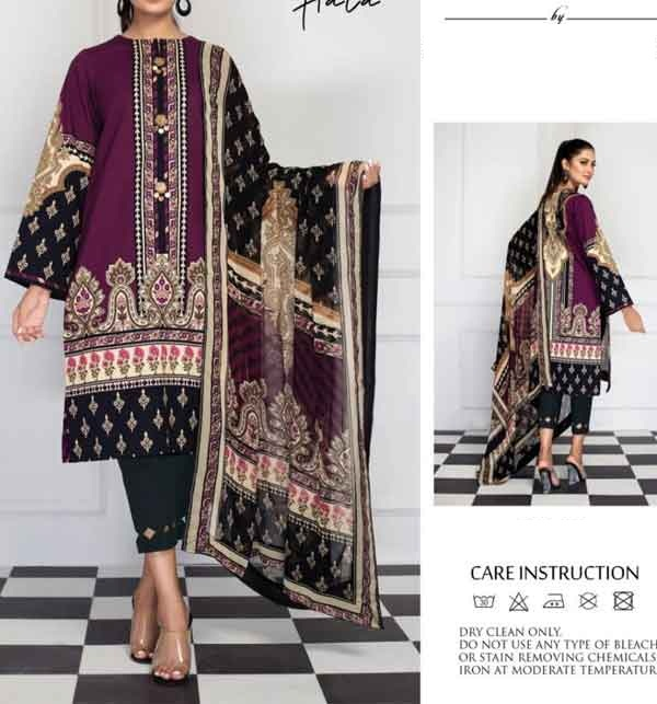 Unstitched Lawn 90/70 Digital Printed Suit With Chiffon Duppata  (DRL-675)